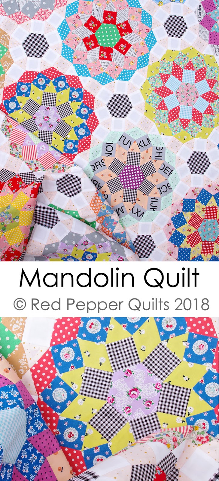 English Paper Pieced - Mandolin Quilt by Rita Hodge | © Red Pepper Quilts 2018  #redpepperquilts #englishpaperpiecing #englishpaperpieced #patchworkandquilting #patchwork #slowsewing