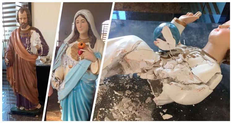 Homem quebra imagem Nossa Senhora dentro de igreja em Serra – Es