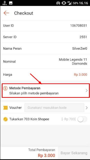 Cara Lengkap Top Up Diamond Mobile Legends di Shopee