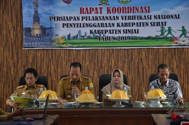 Wabup Membuka  Rapat Koordinasi Persiapan Pelaksanaan Verifikasi Nasional Penyelenggaraan Kabupaten Sehat