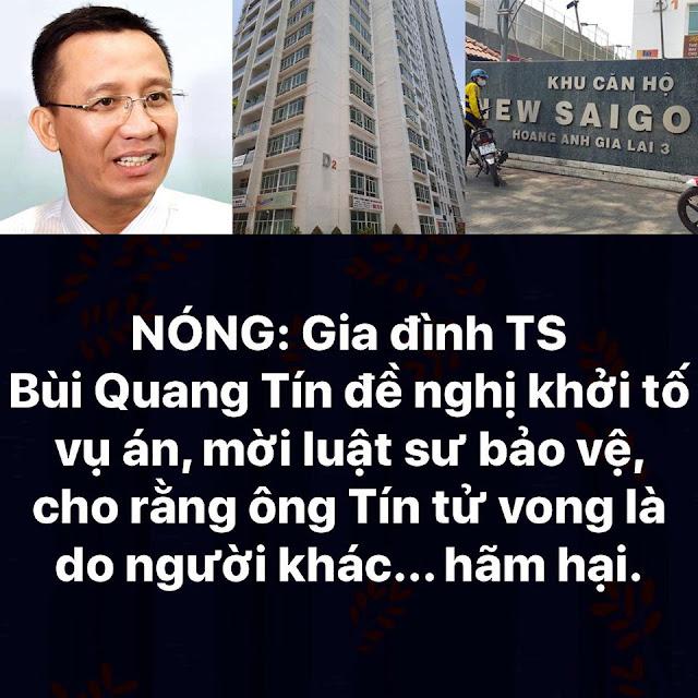 Gia đình TS Bùi Quang Tín đề nghị khởi tố vụ án, cho rằng ông đã bị người khác hãm hại