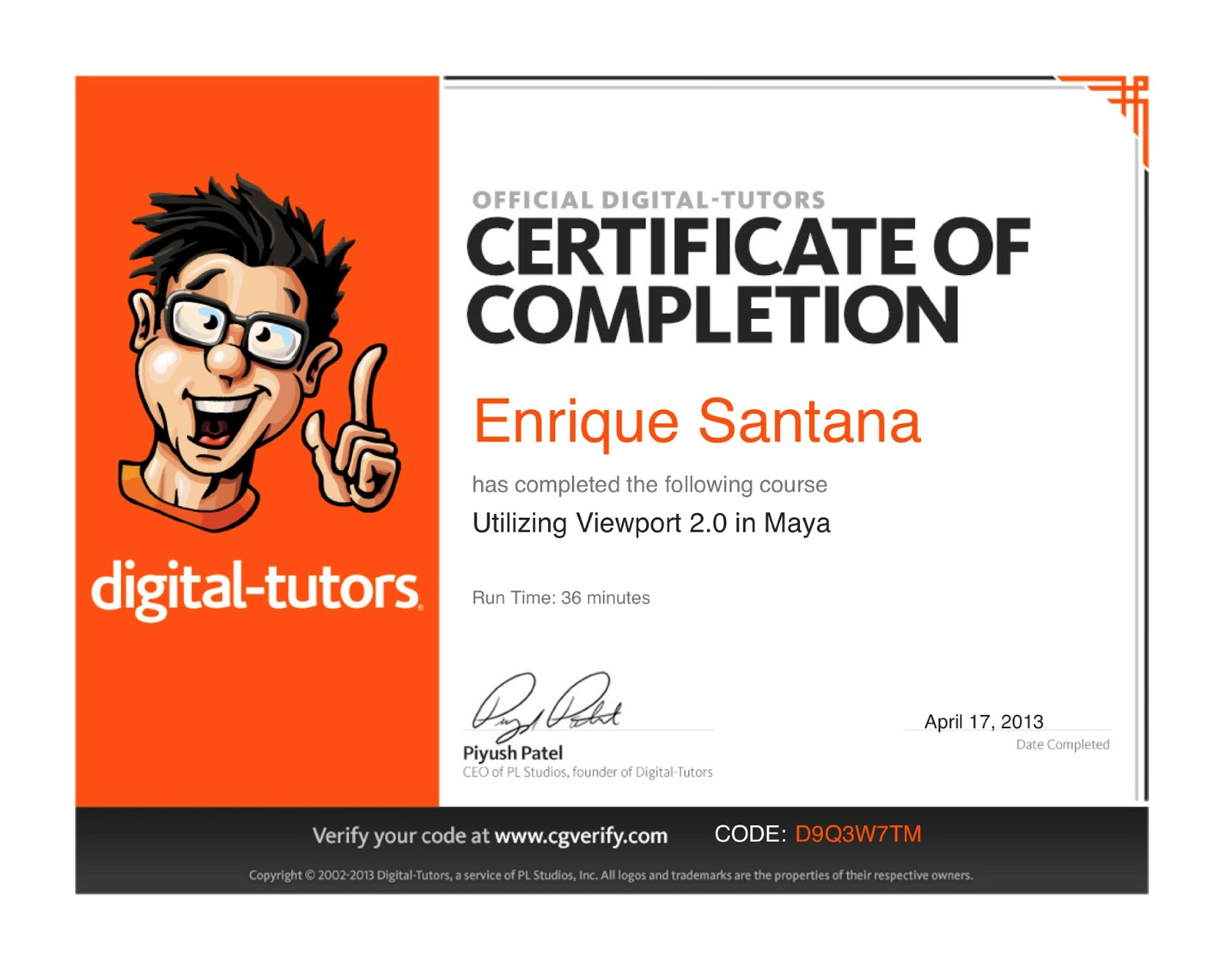 Digital Tutors Certificates (Enrique O Santana)