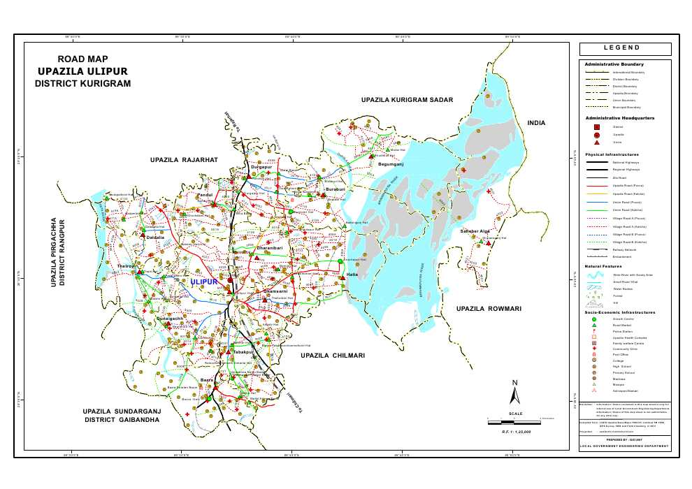 Ulipur Upazila Road Map Kurigram District Bangladesh