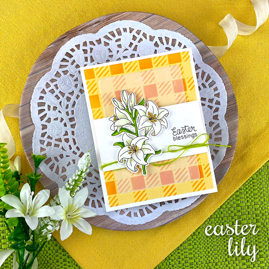 Easter Lily Card by Jennifer Jackson | Easter Lily Stamp Set and Gingham Stencil by Newton's Nook Designs #newtonsnook #handmade