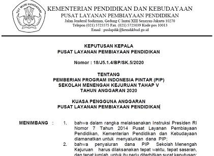 Download SK Penerima PIP SMK Tahap 5 Tahun 2020 Pdf