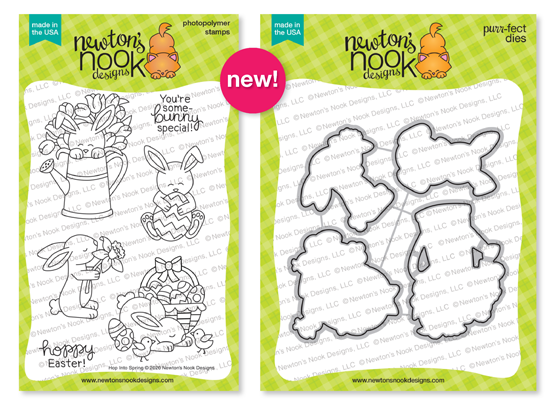 Hop Into Spring | Bunny Stamp Set and coordinating Die Set by Newton's Nook Designs #newtonsnook