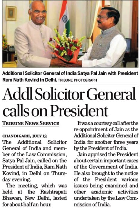 Additional Solicitor General of India Satya Pal Jain with President Ram Nath Kovind in Delhi