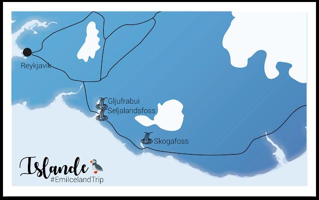 My Travel Background : les plus belles cascades du sud de l'Islande - Carte