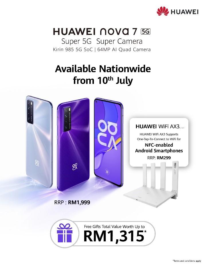Huawei nova 7 and WiFi AX3 in Malaysia starting 10 July 2020