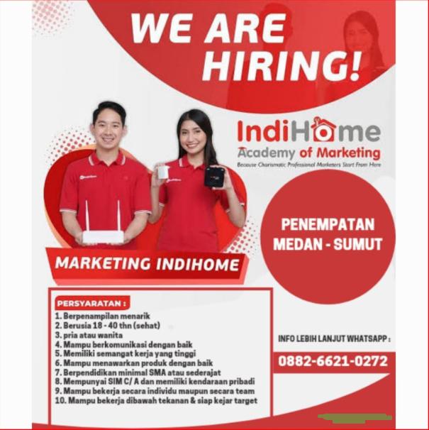 Lowongan Kerja Medan Juni 2021 Tamatan Sma Smk Di Indonesia Digital Home Indihome