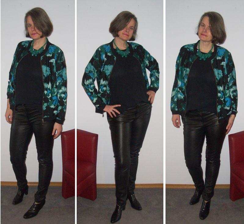 Blouson-Statementkette-Blusenshirt-Lederröhre-Silvester-kombiniert