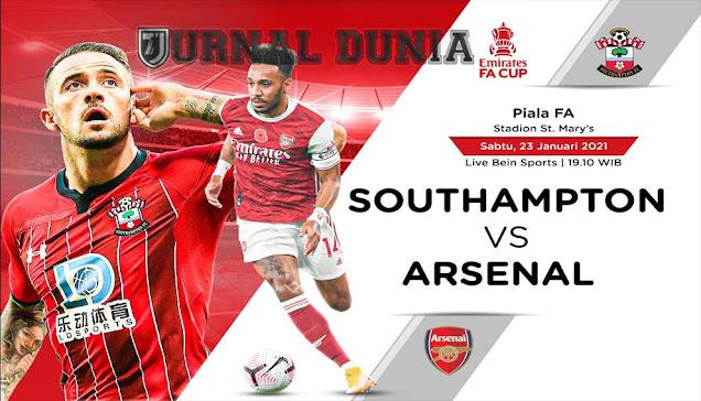 Prediksi Southampton vs Arsenal, Sabtu 23 Januari 2021 Pukul 19.15 WIB @beIN Sports