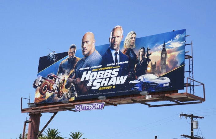 Hobbs Shaw movie cut-out billboard