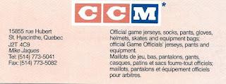 CCM Sport Maska NHL Staff circa 1990