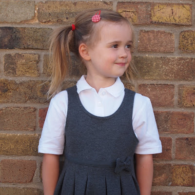 Marks and Spencer school uniform - pinafore dresses and polo shirt