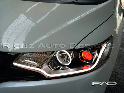 custom headlamp honda jazz angel eyes