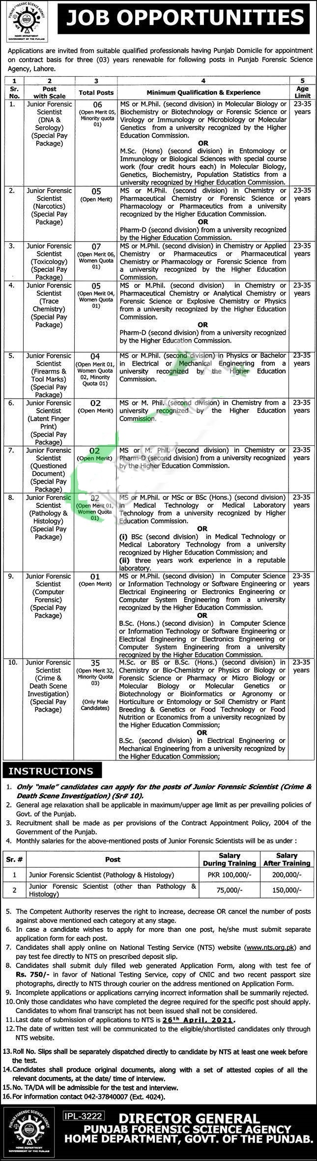 PFSA Application Form 2021 Jobs in Punjab Forensic Science Agency