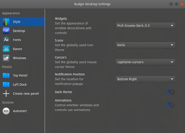 budgie desktop setting gnome theme