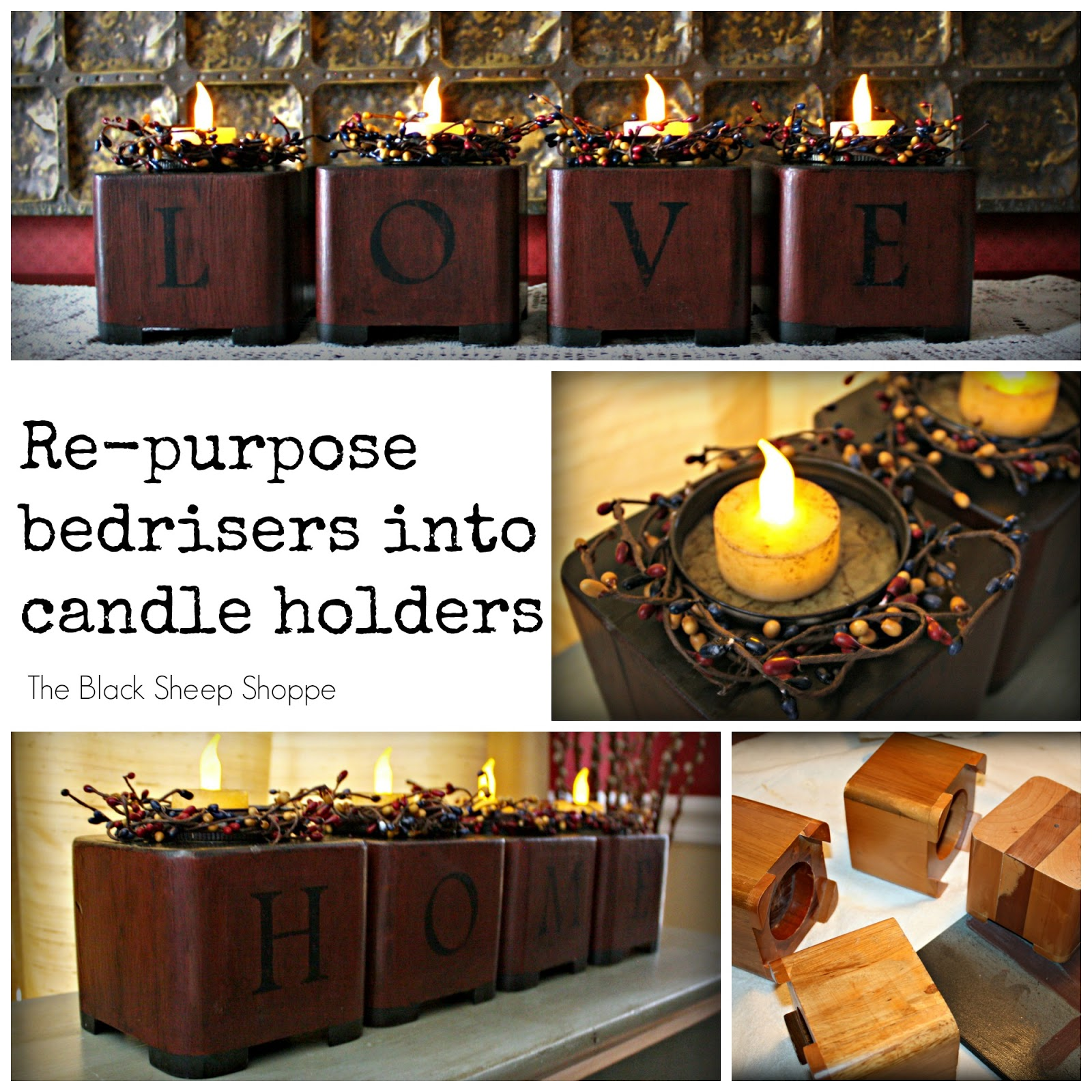 Bed risers re-purposed into candle holders