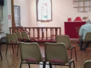 socially distanced chairs in church