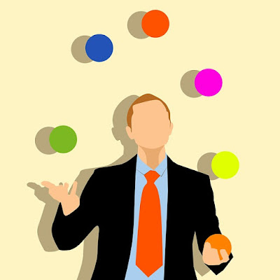 illustrated business dude in suit juggling