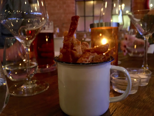 Home made pork scratchings to nibble on