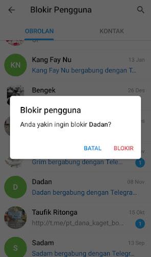 Blokir pengguna Telegram
