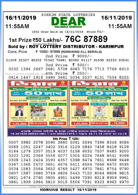 Lottery sambad 16-11-2019 Sikkim State Lottery Result 11.55 AM-sambadlottery.org