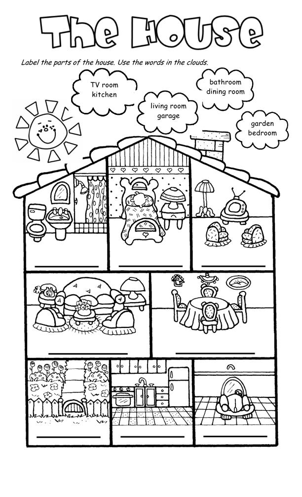 House Rooms Worksheet: Growing English Speaking Kids: My House
