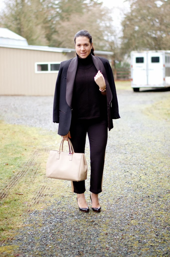 Helmut Lang turtleneck sweater and Isabel Marant blazer.