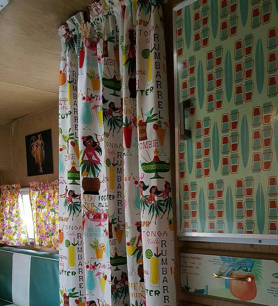 hula tiki print retro curtains 20 - Retro Curtains