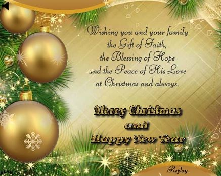 Wishing you and your family Merry Christmas and Happy New Year with Greetings