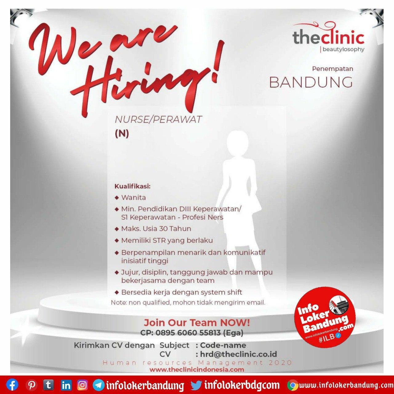 Lowongan Kerja Nurse / Perawat Theclinic Bandung September 2020