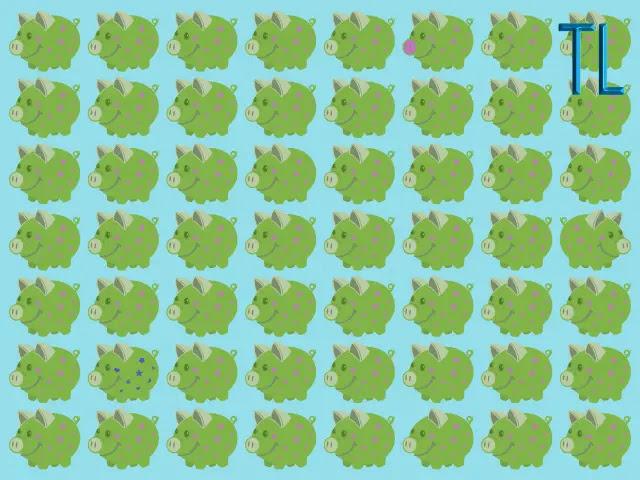 Muchos cochinitos de color verde sobre un fondo azul