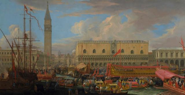 "obra de arte renacentista, pintura al óleo, Luca Carlevarijs, ""The Bucintoro Departing from the Bacino di San Marco"", 1710"