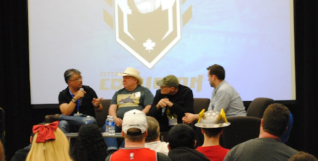 Whilce Portacio, Mike Grell and James O'Barr in a comic book discussion panel at Ottawa Comicon 2016.