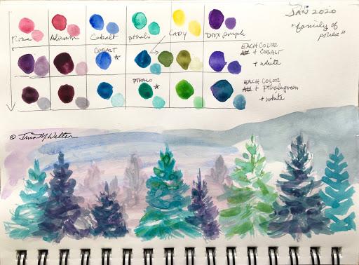 Winter Pines Sketch ©2020 TinaM.Welter