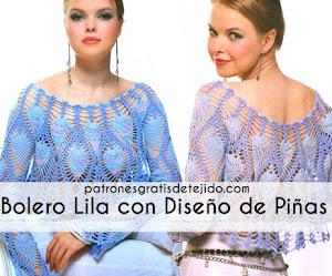 Bolero lila con diseño de piñas 💜 Patrones crochet