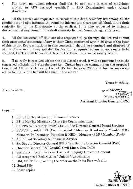 Draft combined all India seniority list of inspector posts for the year 2006