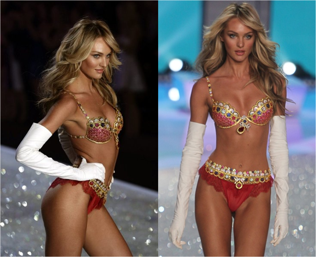 a5f1a6a5796 Supermodel Candice Swanepoel wore what was no doubt the priciest lingerie  of the night during the first section