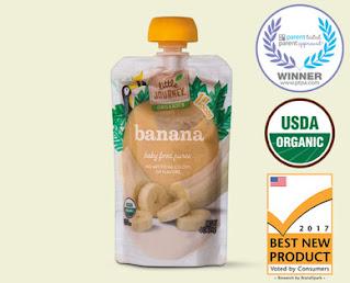 Stock image of Little Journey Organics Banana Baby Food Puree Pouch