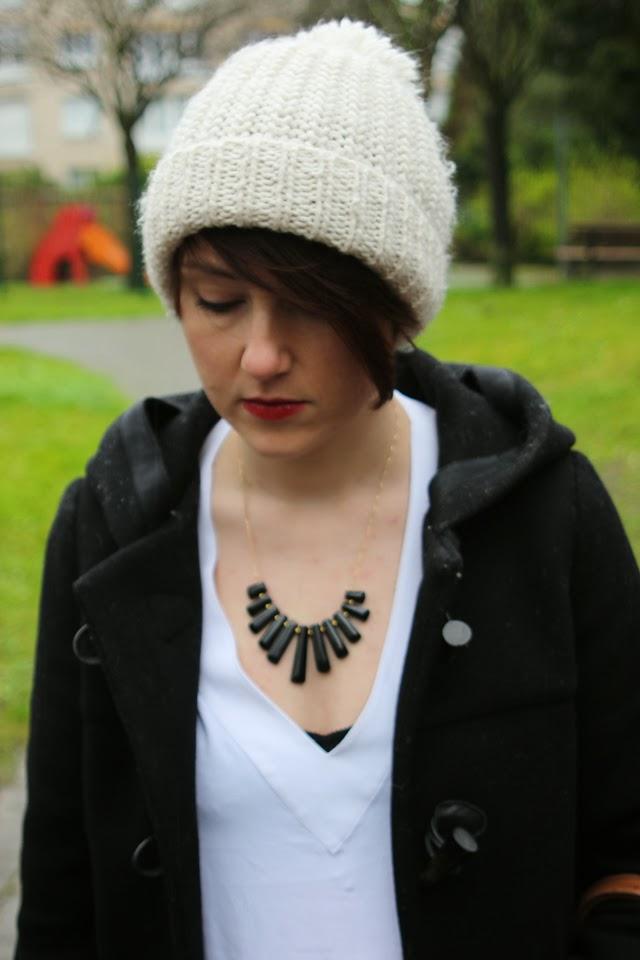 bonnet, collier juste juliette, gemstone, duffle coat, zara, fashion blog, blogger, blog mode lille