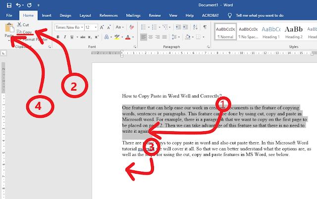 copy paste in word