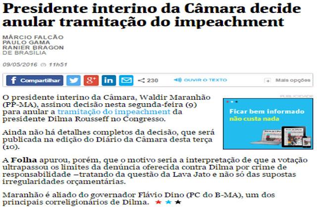BOMBA: Sai o resultado da armação no STF. Waldir Maranhão anula impeachment de Dilma.