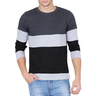 STYLE SHELL Men's Tri Colour Full Sleeve Cotton T-Shirt