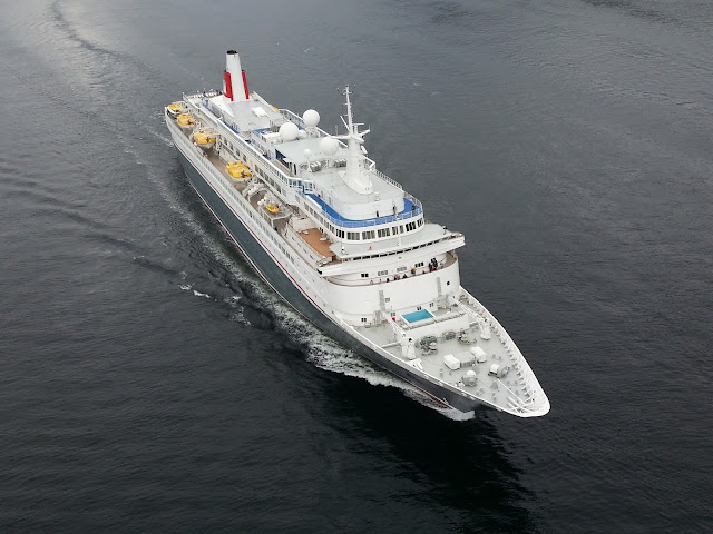 Fred Olsen cruise ship Boudicca departing Bergen, Norway; Cruise ship aerial view