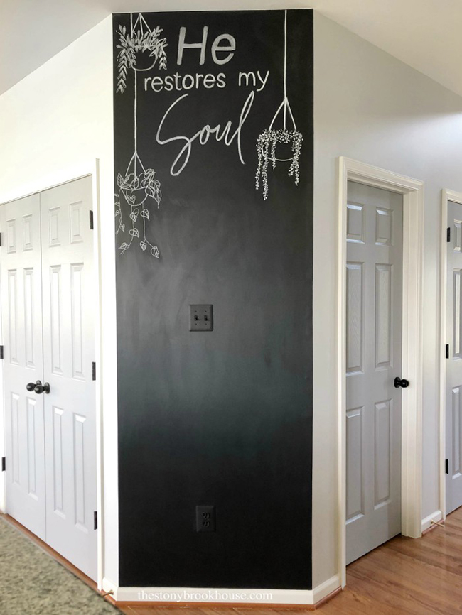 Accent wall painted with chalkboard