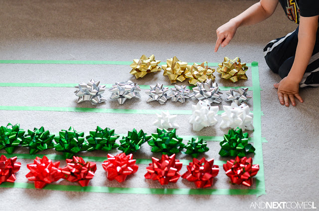 Counting gift bows with a simple Christmas graphing math activity for kids from And Next Comes L