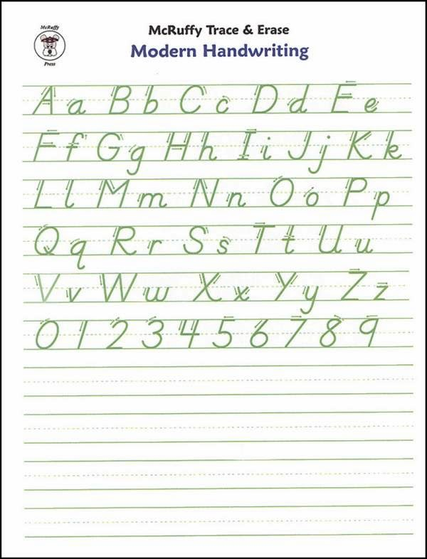 Alphabet handwriting practice hand writing