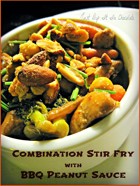 Combination Stir Fry with BBQ Peanut Sauce Recipe, this is the perfect use for leftover veggies or any meat, chicken or seafood you have in your fridge. Delicious and Quick but better than take out anytime! #stirfry